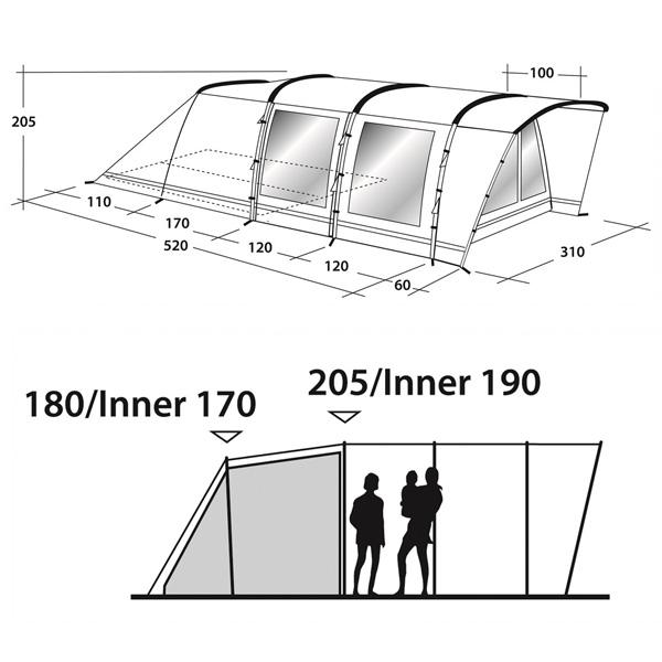 Кемпинговая палатка Outwell Flagstaff 5 схема