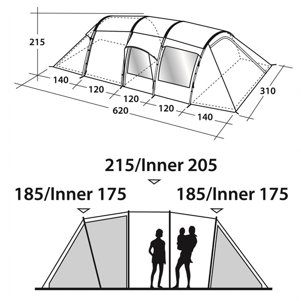 Кемпинговая палатка Outwell Nevada 6 схема 2