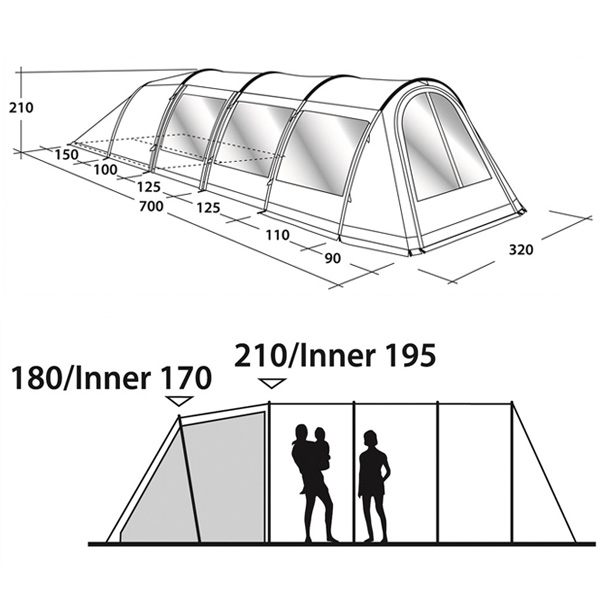 Кемпинговая палатка Outwell Phoenix 4 схема