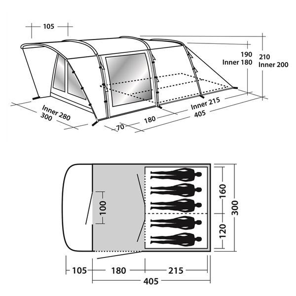 Кемпинговая палатка Easy Camp Palmdale 500 Схема